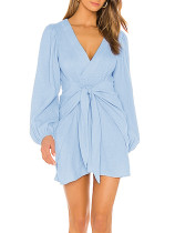 R.Vivimos Women's Linen Fall Long Puff Sleeves Tie Front V-Neck Casual Mini Dress