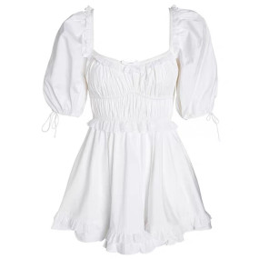R.Vivimos Womens Summer Cotton Puff Sleeves Square Neckline Ruffle Casual Swing Mini Dress