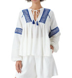 R.Vivimos Womens Summer Fall Linen Long Sleeves V-Neckline Embroidery Casual Tunic Blouses