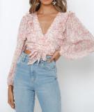 R.Vivimos Women's Chiffon Long Sleeves Floral Print Ruffled Boho V-Neck Wrap Crop Blouses Tops