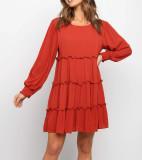 R.Vivimos Women's Fall Cotton Long Sleeves Ruffled Casual Loose Swing Flowy Tunic Mini Dress