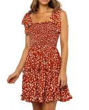 R.Vivimos Women's Summer Cotton Irregular Polka Dot Strap A-Line Swing Flowy Mini Dress