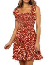 R.Vivimos Women's Summer Cotton Irregular Polka Dot Strap A-Line Swing Flowy Mini Dress