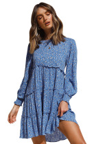 R.Vivimos Women's Fall Cotton Long Sleeves Ruffled Casual Loose Swing Flowy Tunic Mini Dress