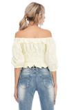 R.Vivimos Women's Summer Half Sleeve Ruffled Floral Print Cute Cotton Crop Blouses Tops