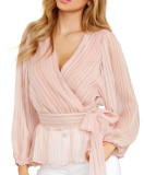 R.Vivimos Women's Fall Chiffon Long Sleeves Ruffled V-Neck Striped Peplum Blouse Tops with Belt