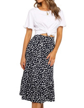 R.Vivimos Women's Summer Cotton Boho Irregular Polka Dot Print Ruffled A-Line Flowy Midi Skirts