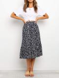R.Vivimos Women's Summer Cotton Boho Irregular Polka Dot Print Ruffled A-Line Flowy Midi Skirts