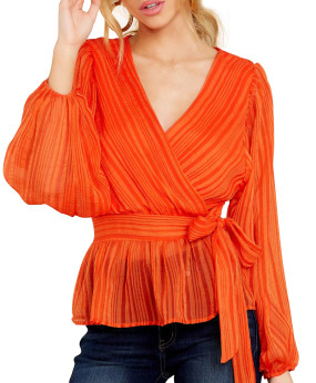 R.Vivimos Women's Fall Chiffon Long Sleeves Ruffled V-Neck Striped Peplum Blouse Tops with Belt