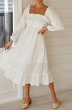 R.Vivimos Women's Linen Fall Long Sleeves Stripes Ruffled Boho Casual A-Line Flowy Midi Dresses