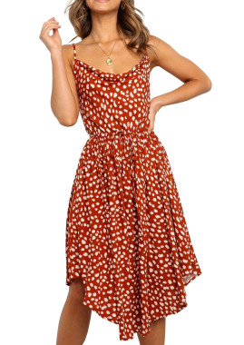 R.Vivimos Women's Summer Spaghetti Straps Irregular Polka Dot Cowl Neck Knee Length Dresses