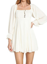 R.Vivimos Women's Cotton Fall Long Sleeves Backless Ruffled Button Up Casual A-Line Swing Mini Dress