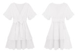 R.Vivimos Women's Summer Cotton Short Sleeves Floral Embroidery Layered Ruffles Casual Mini Dress
