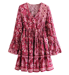 R.Vivimos Women's Cotton Long Flare Sleeves V Neck Floral Print Cute Fall Casual Mini Dress