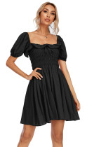 R.Vivimos Women's Summer Linen Short Sleeve Ruffled Floral Print Swing Dress