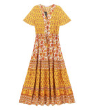 R.Vivimos Women's Short Sleeve Floral Print Summer Dress Casual Boho Midi A Line Dress