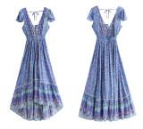 R.Vivimos Womens Summer Short Sleeve V Neck Backless Cotton Floral Flowy Dress