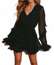 R.Vivimos Women's Fall Chiffon Long Sleeves V-Neck Ruffles Casual Backless A-Line Mini Dresses