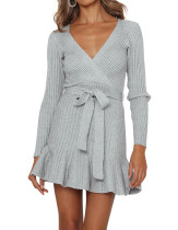 R.Vivimos Women's Winter Long Sleeves Casual Ruffled V Neck Knit Swing Sweater Dress with Belt