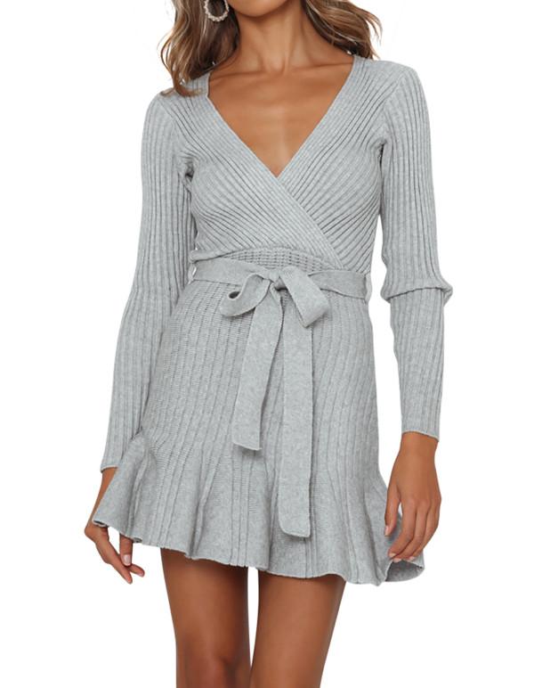 R.Vivimos Women's Winter Long Sleeves Casual Ruffled V Neck Knit Swing Sweater Dress with Belt
