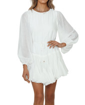 R.Vivimos Women's Fall Cotton Long Sleeves Casual Ruffle Hem Swing Mini Dress with Belt