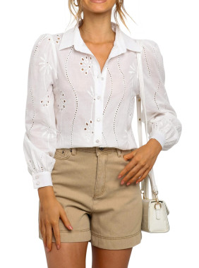 R.Vivimos Women's Cotton Long Sleeves Floral Embroidery Casual V Neck Button Down Shirts Blouses