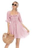 R.Vivimos Women's Summer Cotton Half Sleeves Backless Ruffled Mini A-Line Dress