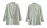 R.Vivimos Women's Blazers Fall Lapel Collar Long Sleeves Casual Coat Blazer Jacket Outerwear