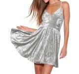 R.Vivimos Women's Velvet Spaghetti Straps Sexy V Neck Club Party Pleated Swing A Line Skater Dress