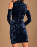 R.Vivimos Women's Winter Crushed Velvet Long Sleeves Cold Shoulder High Neck Bodycon Mini Dress