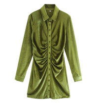 R.Vivimos Women's Fall Long Sleeves Casual Velvet Ruched Button Down Shirts Mini Dress