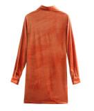 R.Vivimos Women's Fall Long Sleeves Casual Velvet Ruched Button Down Shirts Mini Dress