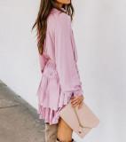 R.Vivimos Women's Cotton Long Sleeves V Neck Layered Ruffles Pleated Swing Mini Dress