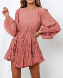 R.Vivimos Women's Fall Cotton Long Sleeves Casual Ruffle Hem Swing Mini Dress with Belt