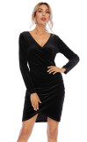 R.Vivimos Women's Fall Velvet Long Sleeves V-Neck Wrap Ruched Bodycon Irregular Mini Dress