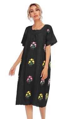 R.Vivimos Women Short Sleeve Summer Floral Embroidery Lace Hollow Out Bohemian Cotton Linen Midi Dresses