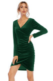 R.Vivimos Women's Fall Velvet Long Sleeves V-Neck Wrap Ruched Bodycon Irregular Mini Dress