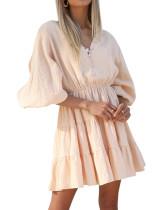 R.Vivimos Women's Summer Linen Puff Sleeves Casual Button Up A-Line Casual Skater Mini Dresses