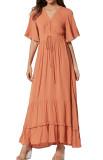 R.Vivimos Womens Summer Cotton Short Sleeve V Neck Floral Print Casual Bohemian Long Dresses