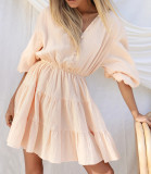 R.Vivimos Women's Summer Linen Puff Sleeves Casual Button Up A-Line Casual Skater Mini Dresses