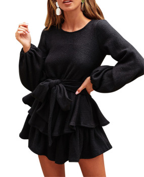R.Vivimos Women's Winter Long Sleeves Layered Ruffles Tie Waist Sweater Skater Mini Dress