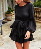 R.Vivimos Women's Winter Long Sleeves Layered Ruffles Tie Waist Sweater Skater Mini Dress