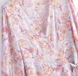 R.Vivimos Women's Summer Cotton 3/4 Sleeves Floral Print Casual Wrap Dress Midi Flowy Dresses