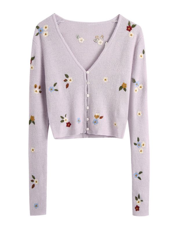 R.Vivimos Women's Fall Long Sleeves Floral Embroidered Button Down Knit Cardigan Crop Sweater