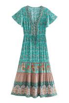 R.Vivimos Women's Summer Cotton Short Sleeves Floral Print Button Up Boho Flowy Midi Dress