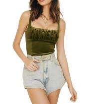 R.Vivimos Women's Casual Straps Square Neckline Velvet Crop Cami Top Tank