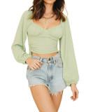 R.Vivimos Women's Fall Long Sleeves V Neck Drawstring Ruched Bodycon Crop Tops T-Shirts