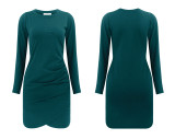 R.Vivimos Women's Fall Cotton Long Sleeve Casual Ruched Dress Bodycon T-Shirt Mini Dress