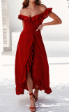 R.Vivimos Women's Summer Cotton Off Shoulder Ruffled Ruched Flowy Maxi Dress with Split