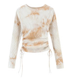 R.Vivimos Women's Fall Cotton Basic Long Sleeves Tie Dye Ribbed Knit Crop Top Tee Shirt